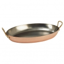 DE BUYER 6451 - Inocuivre Collection - Copper & Stainless steel Oval Pan with bronze handles