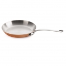 MAUVIEL 6113 - M'héritage Collection - Round Copper Frying Pan stainless steel inside with cast stainless steel handle