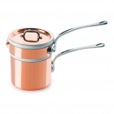 MAUVIEL 6104 - M'héritage Collection - Copper Bain Marie (water bath)  tin inside with porcelain insert, bronze handles