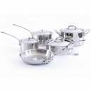 MAUVIEL M'cook Collection - Stainless Steel Cookware Set, 9 pieces, cast stainless steel handles