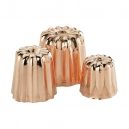 "De Buyer 6820 - Set of 8 Copper & tin inside ""cannelés"" molds"