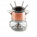MAUVIEL 6106 - M'héritage Collection - Copper & Stainless steel Fondue Set and cocotte, cast stainless steel handles