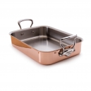 MAUVIEL 6117 - M'héritage Collection - Copper & Stainless Steel Rectangular Roasting Pan, cast stainless steel handles